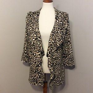 Calvin Klein leopard print open ruffle jacket